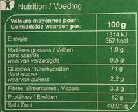 Lasagnes à garnir - Nutrition facts - fr