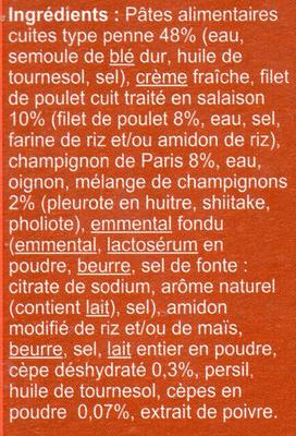 Penne au poulet Sauce Champignons - Ingrédients - fr