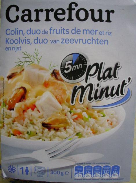Plat minut 39 colin duo de fruits de mer et riz surgel - Cuisiner du colin surgele ...