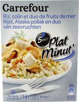 Plat minut' : Colin, duo de fruits de mer et riz, Surgelé - Produit - fr