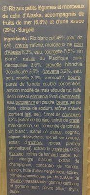 Plat minut' : Colin, duo de fruits de mer et riz, Surgelé - Ingrédients - fr