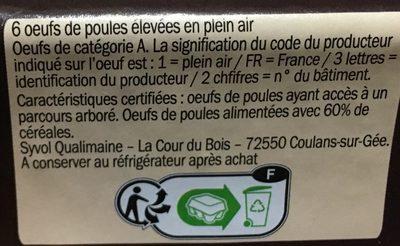 Oeufs de poules - Elevées en Plein Air - Calibre moyen - Ingredients - fr