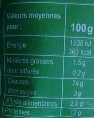 Coquillettes cuisson rapide 3 minutes - Informations nutritionnelles