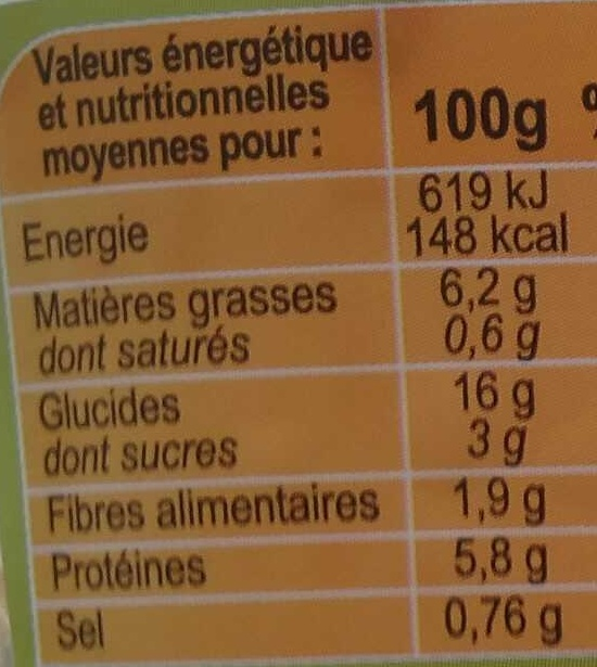 Salade Italienne - Informations nutritionnelles - fr
