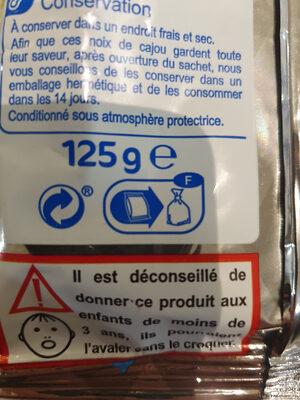 Noix de cajou grillées - Istruzioni per il riciclaggio e/o informazioni sull'imballaggio - fr