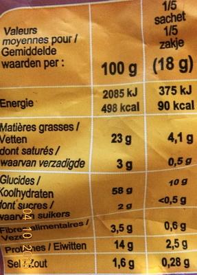Croustillants à la Cacahuète - Voedingswaarden - fr