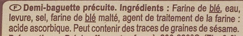 1/2 baguette précuite - Ingredienti - fr