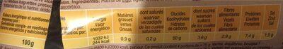 Demi-baguettes précuites - Informations nutritionnelles