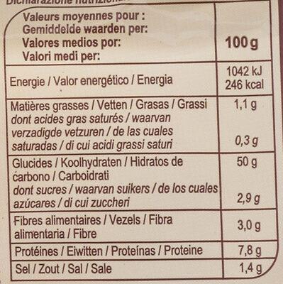 1/2 baguette précuite - Valori nutrizionali - fr