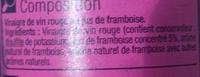 Vinaigre de vin au jus de framboise - Ingredients - fr