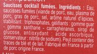 Saucisses Cocktail rondes - Inhaltsstoffe - fr