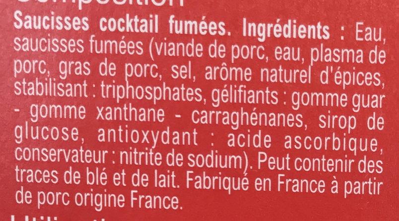 Saucisses Cocktail rondes - Ingrédients - fr