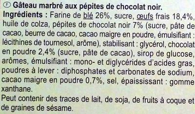 Gateau Marbré aux Pépites de Chocolat - Ingredients - fr