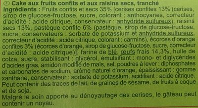 Cake aux fruits Carrefour en tranches - Ingredients - fr