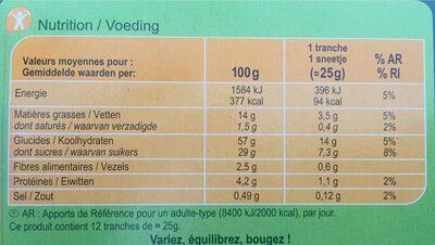 Cake aux fruits Carrefour en tranches - Nutrition facts - fr