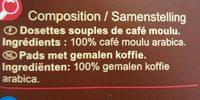 Dosettes de café Equilibré - Voedingswaarden