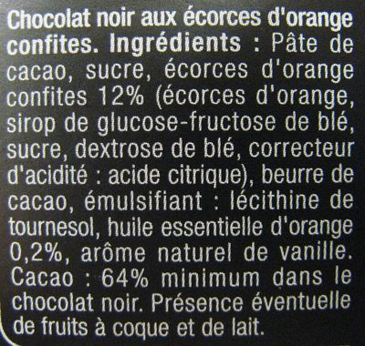 Chocolate negropiel de naranjaconfitada - Ingrédients