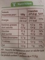 pain de mie Carrefour bio - Nutrition facts - fr