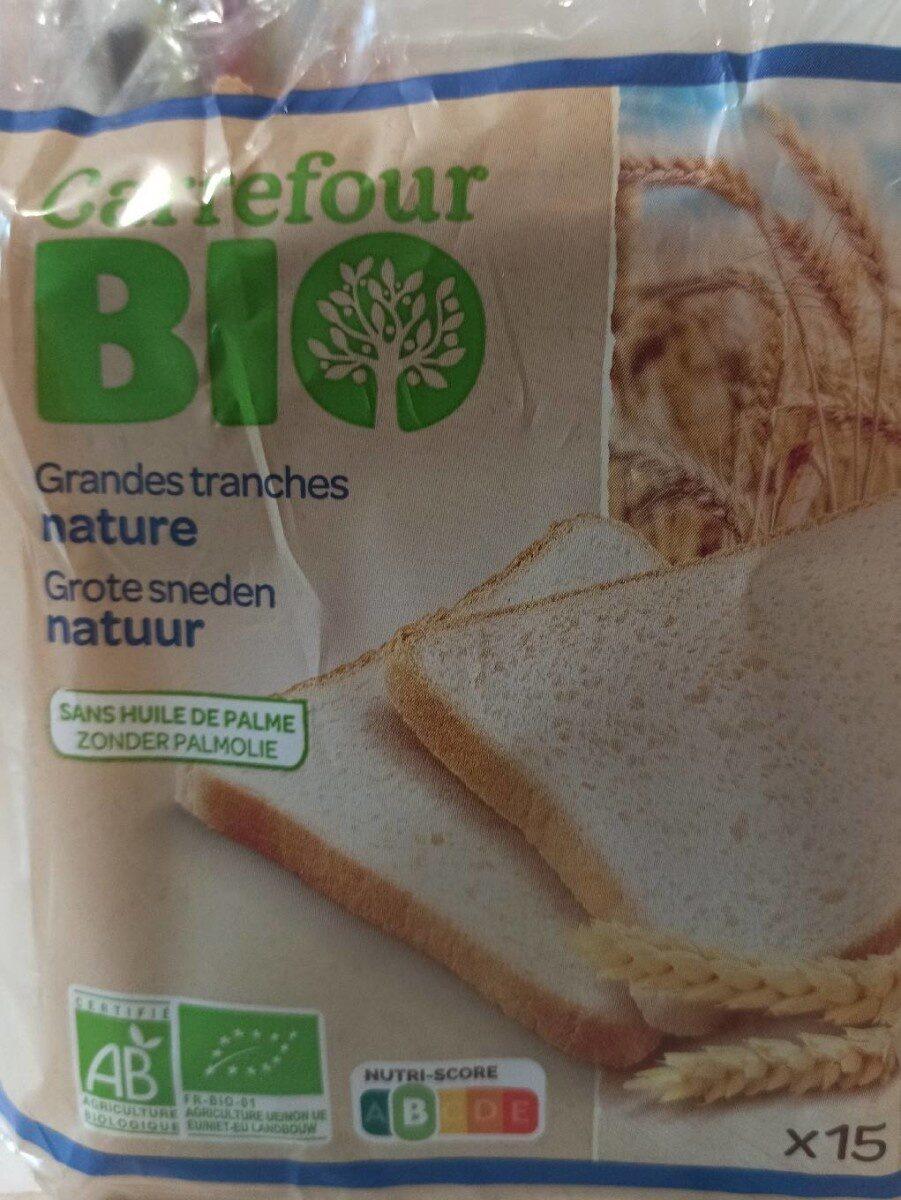 Pain de mie grandes tranches nature carrefour  Bio - Produit - fr