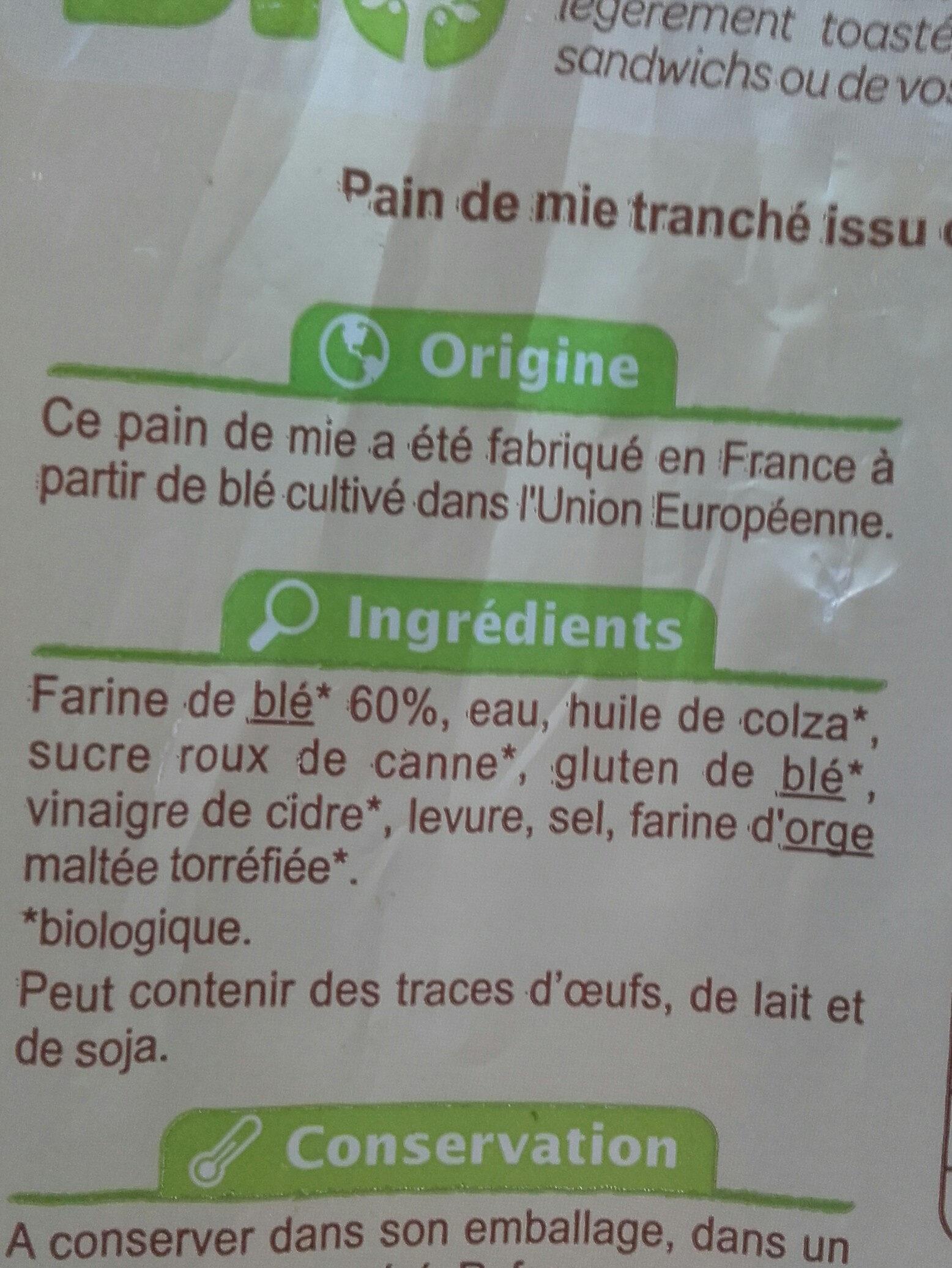 Pain de Mie Nature - Ingrédients