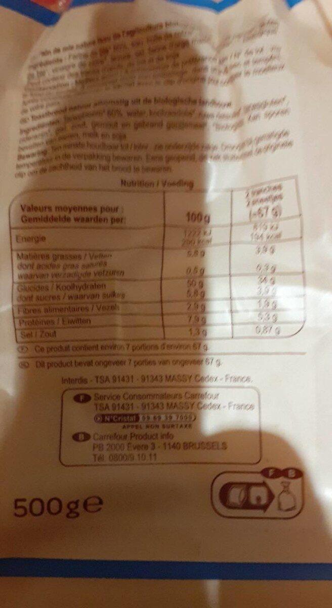 Pain de mie blanc - Informations nutritionnelles - fr