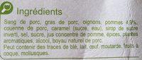 Boudins noirs aux  pommes - Ingrédients - fr