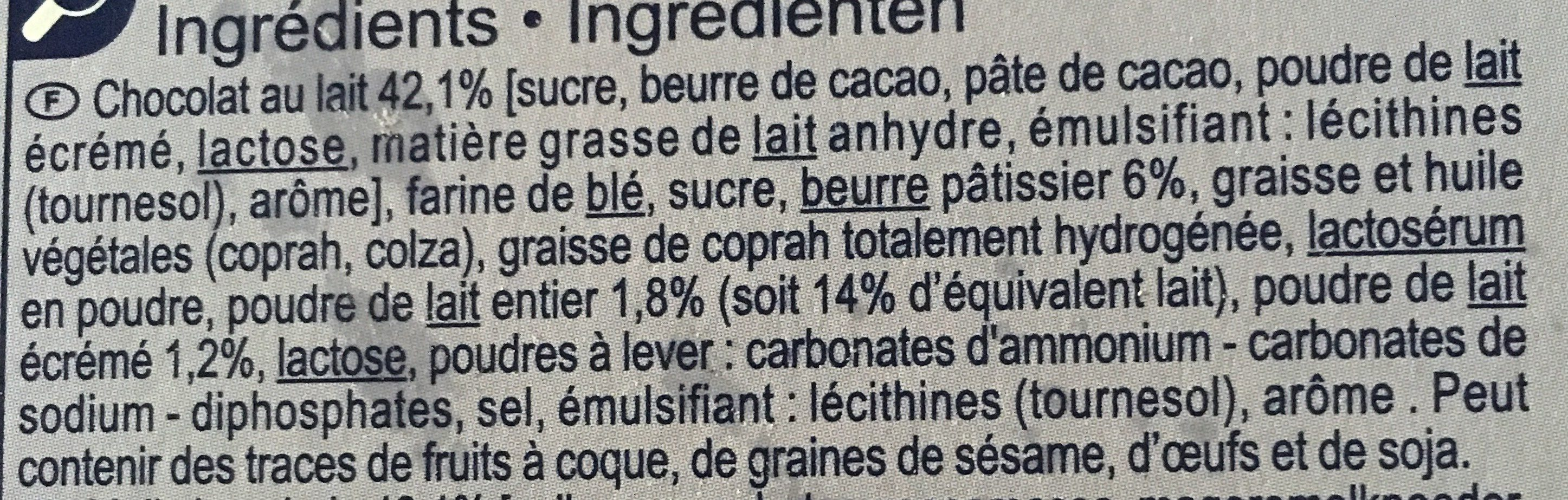 Le petit beurre  tablette chocolat lait  cœur au lait - Ingrediënten - fr