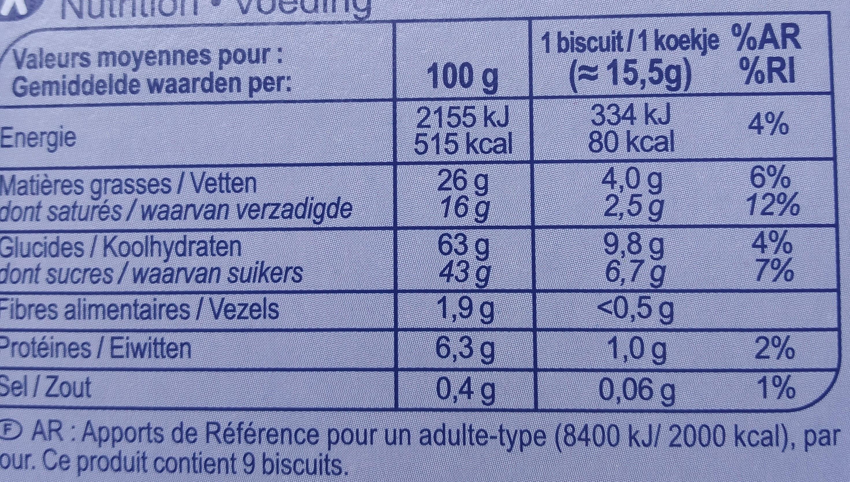 Le petit beurre  tablette chocolat lait  cœur au lait - Voedingswaarden - fr