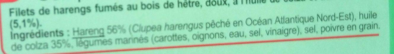 Filets de harengs fumés doux - Ingrediënten - fr