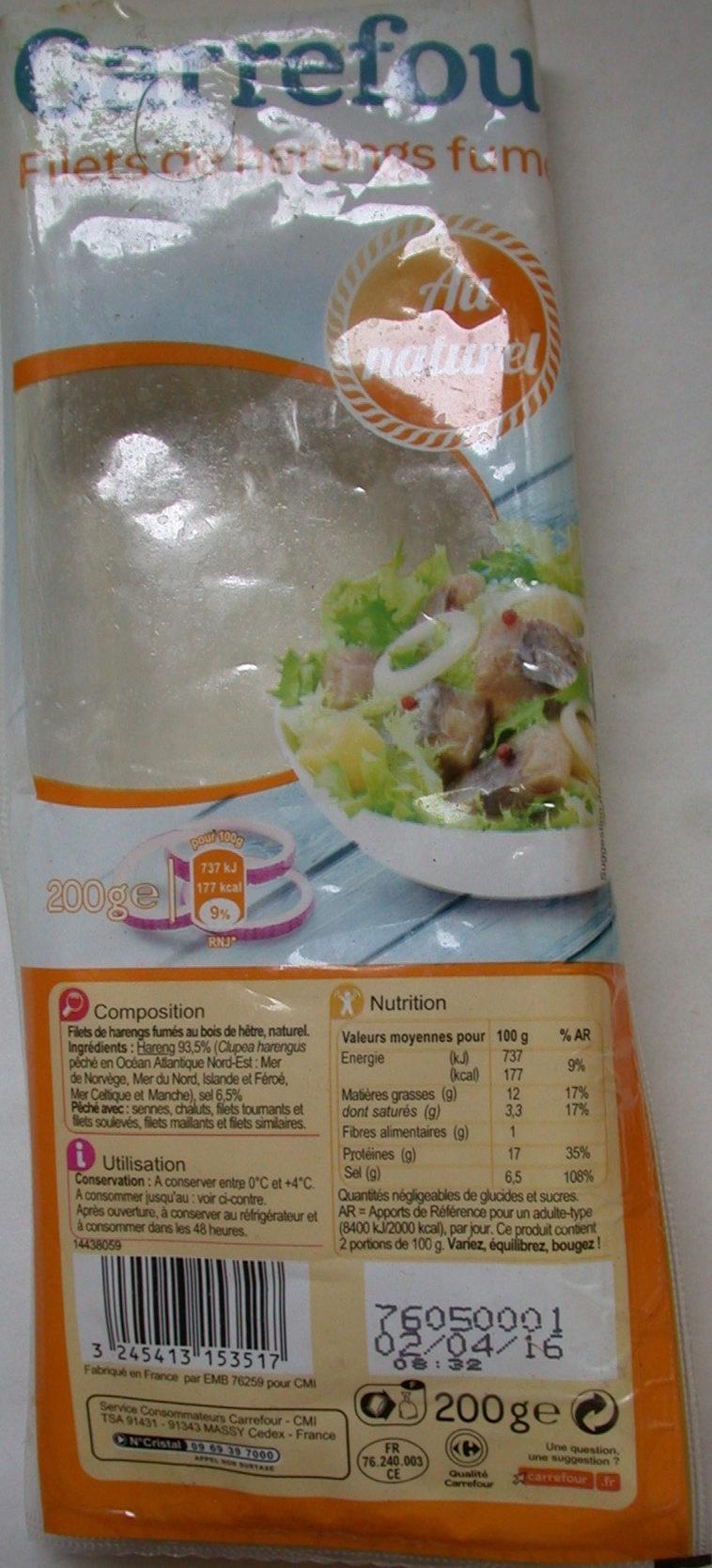 Filets de harengs fumés au naturel - Product
