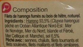 Filets de harengs fumés au naturel - Ingredients