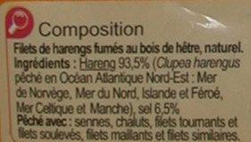 Filets de harengs fumés au naturel - Ingrediënten - fr