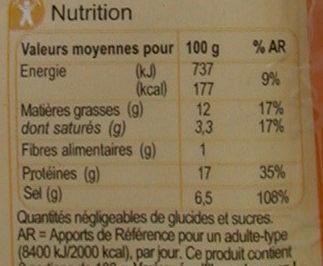 Filets de harengs fumés au naturel - Voedingswaarden - fr