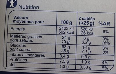 Sable chocolat lait - Informations nutritionnelles - fr