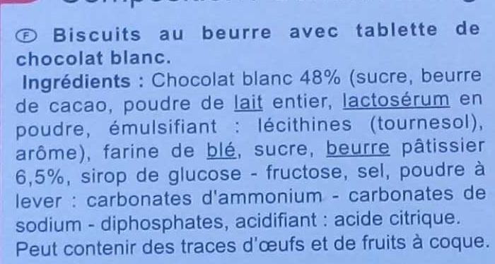Galletas de mantequilla tabletachocolate blanco - Ingredientes