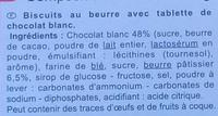 Le Petit Beurre Tablette - Chocolat Blanc - Ingredients - fr