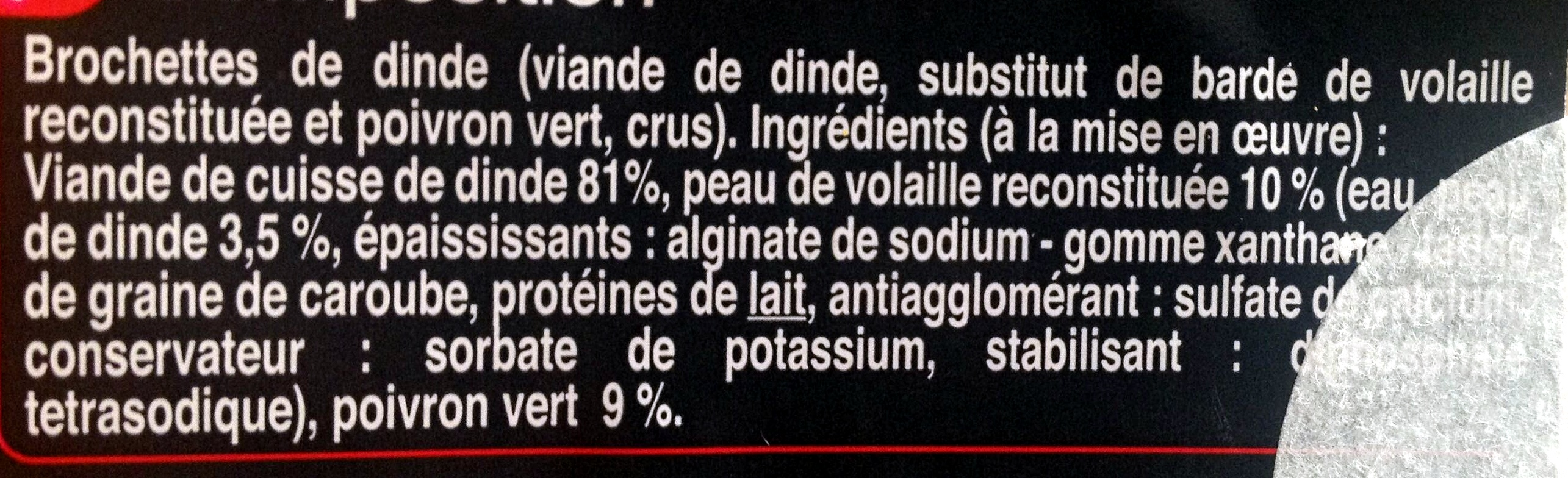 Brochettes de dinde - Ingrédients - fr