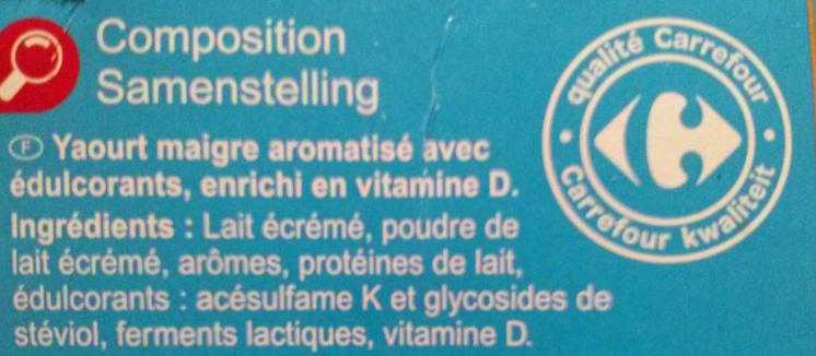 Yaourt  Aromatisé  avec édulcorants - Ingrediënten