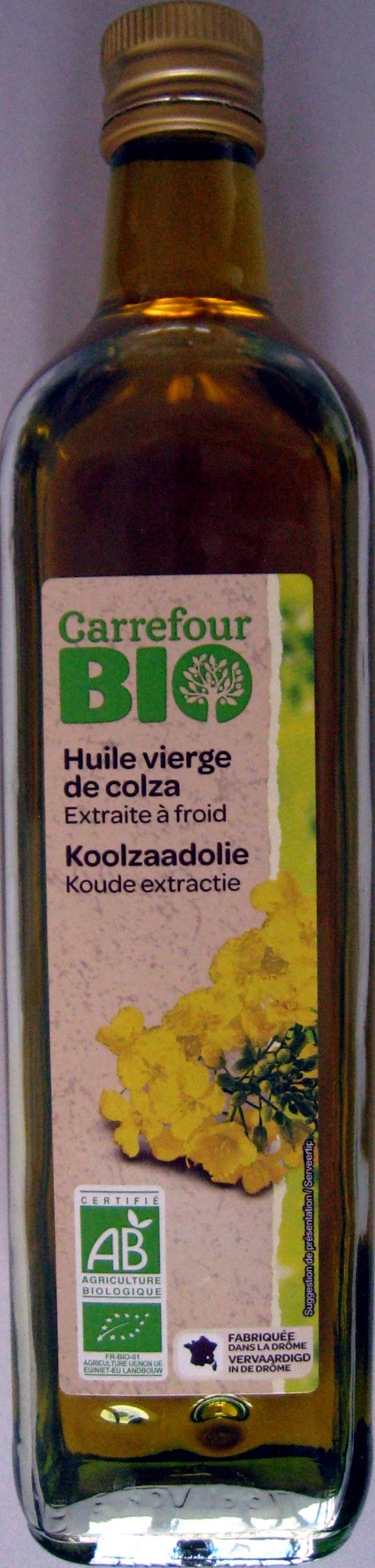 huile vierge de colza extraite froid bio carrefour 75 cl. Black Bedroom Furniture Sets. Home Design Ideas