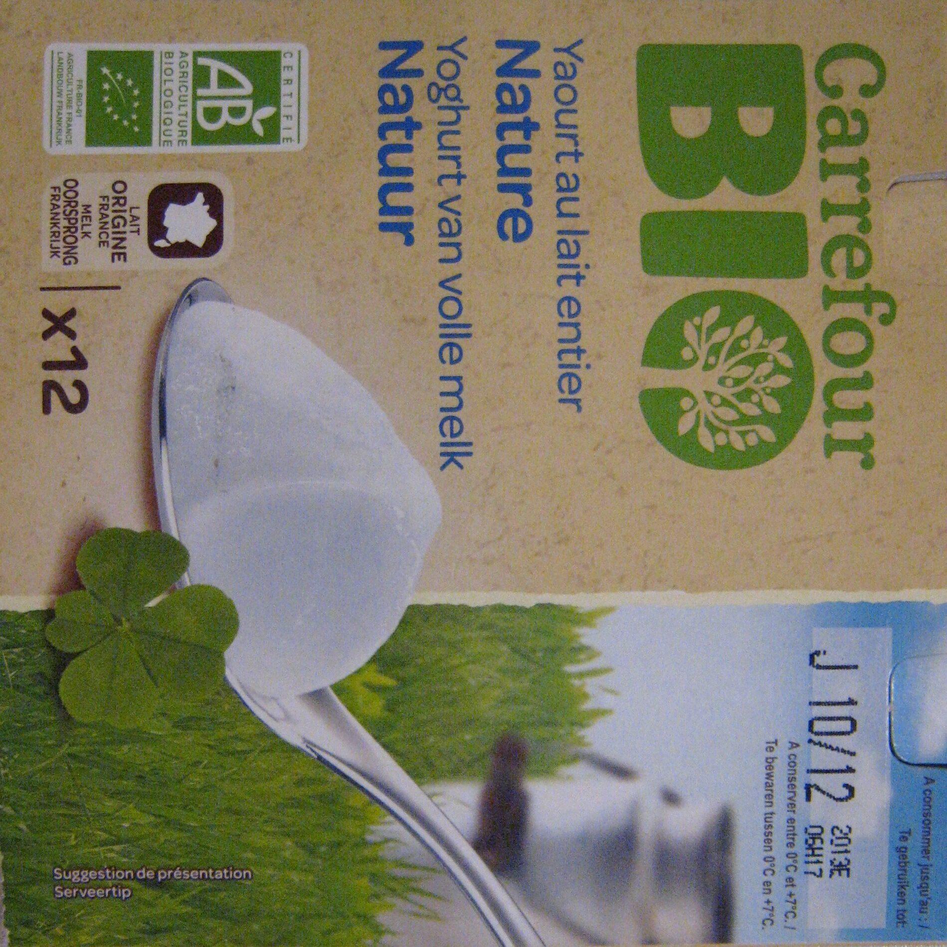 Yaourts nature au lait entier x12 Bio Carrefour - Producto - es