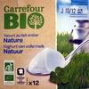 Yaourts nature au lait entier x12 Bio Carrefour - Producte
