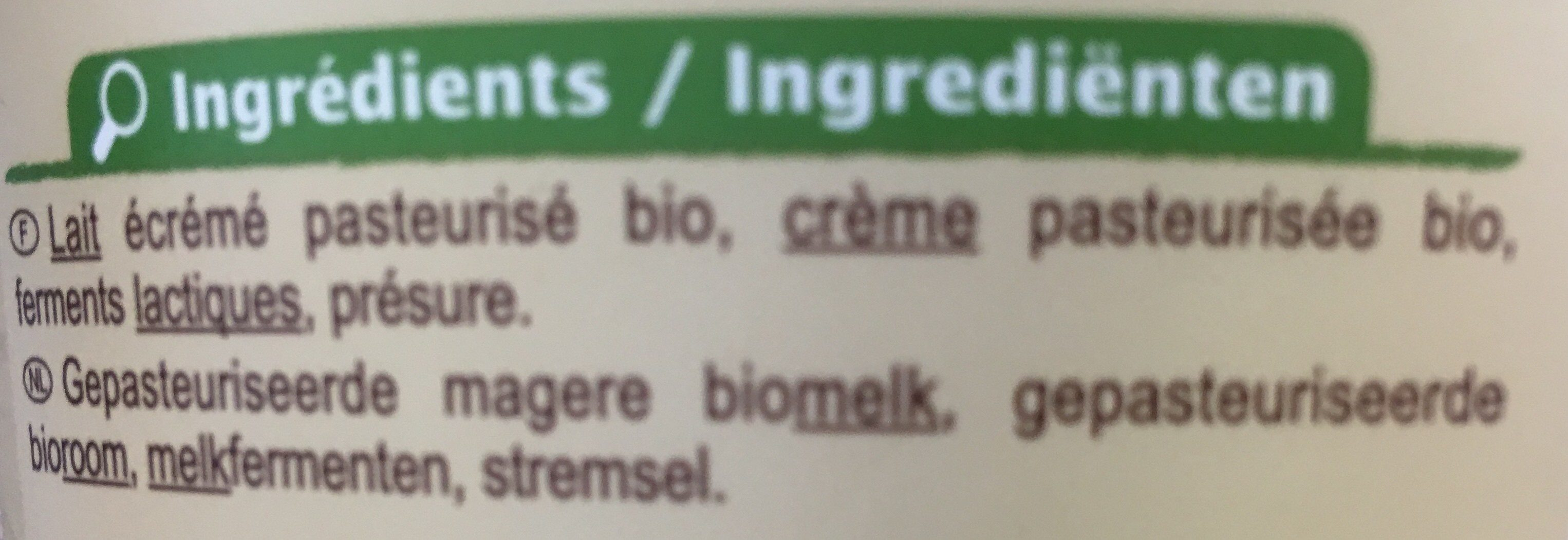 Fromage frais - Ingredients - fr