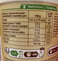 Fromage frais - Nutrition facts - fr