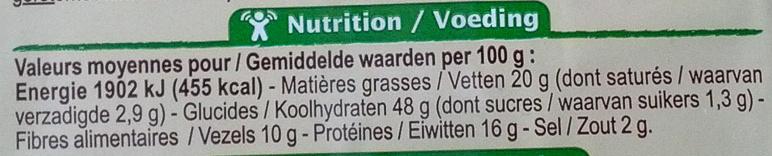 Crackers épeautre 3 graines - Información nutricional