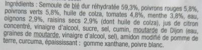 Taboulé Oriental duo de poivrons et menthe - Ingrediënten - fr