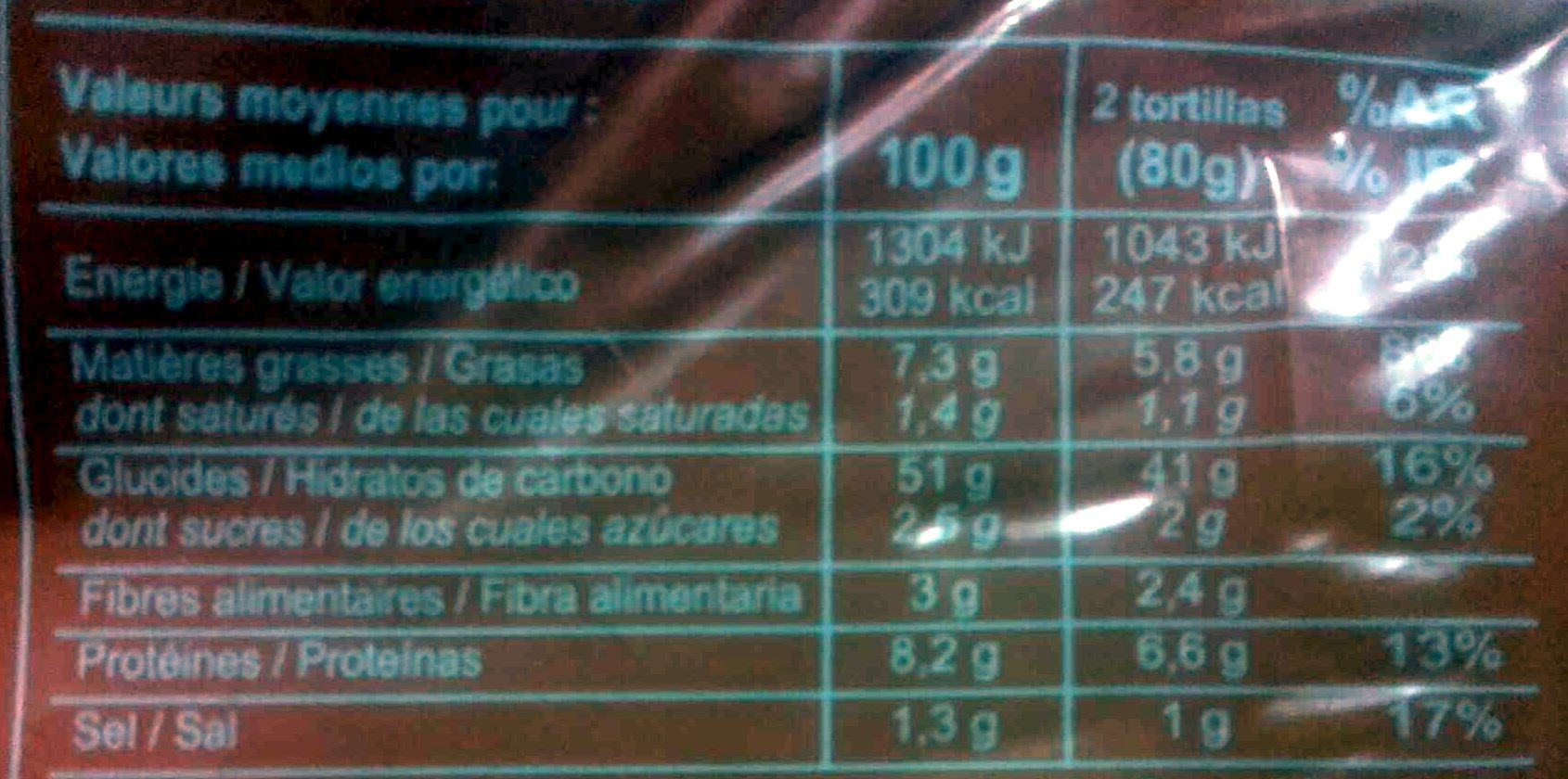 Tortillas blé et mais - Informations nutritionnelles - fr