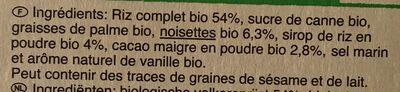 Galettes de riz complet goût choco-noisettes - Ingrédients - fr