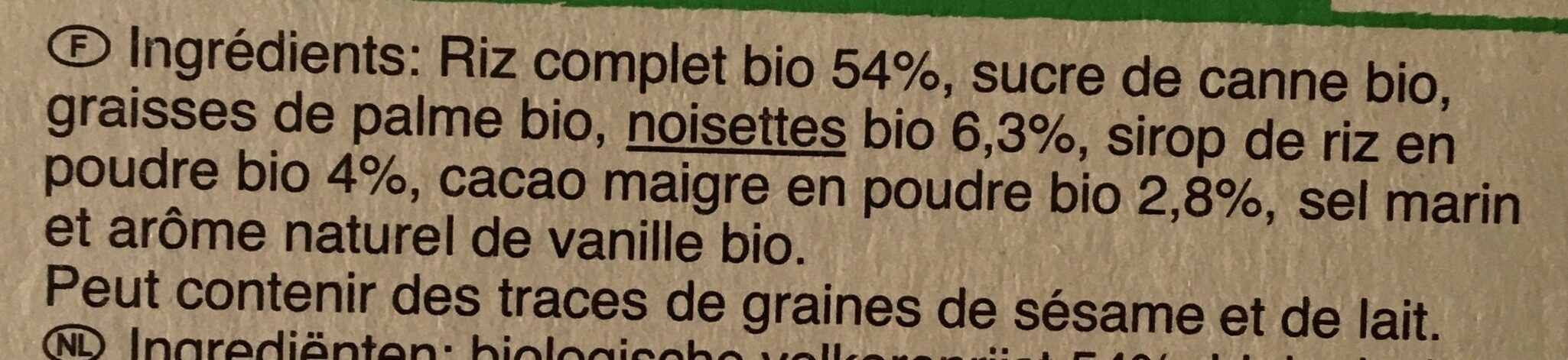 Galettes de riz complet goût choco-noisettes - Ingredients