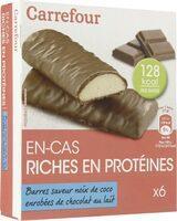 Barres de régime saveur noix de coco enrobées de chocolat au lait Carrefour - Product - fr