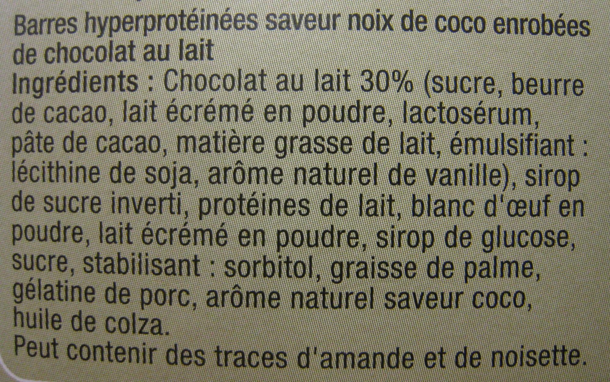 Barres de régime saveur noix de coco enrobées de chocolat au lait Carrefour - Ingredients - fr